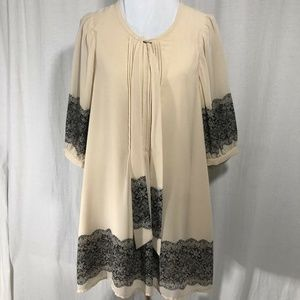 Darling Boutique Beige Sheer Blouse Size Medium